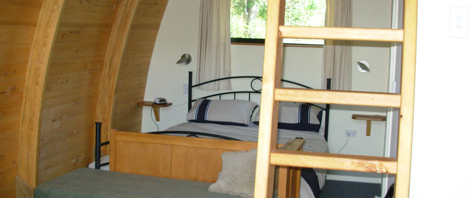 The ladder to access top beds in Chalet Rimu